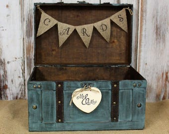 Wedding Card Box with Burlap Banner-Rustic Wedding Card Box-Shabby Chic Wedding Decor, Turquoise Teal Card Box, Reception Card Holder,