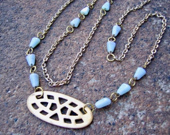 Eco-Friendly Statement Necklace - Harbinger - Recycled Vintage Goldtone Chain, Cut-Out Brass Pendant and Pale Blue Triangular Glass Beads