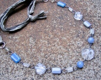 Eco-Friendly Sari Silk Ribbon Statement Necklace - Sky Fall - Recycled Ribbon and Vintage Beads in Clear, Grey and Sky Blue