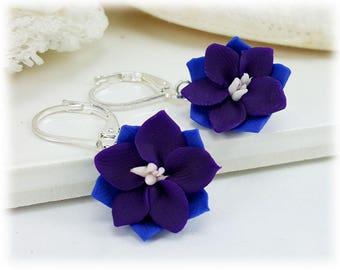 Purple Larkspur Dangle - Larkspur Flower Drop Earrings, Larkspur Jewelry, July Birthday Birth Flower, Purple Flower Earrings