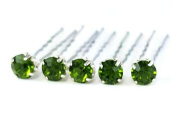 Olivine Rhinestone Hair Pins - Olive Green Crystal Hair Pins, Olivine Wedding Hair Pins, Olive Bobby Pins - 7mm/5 qty - FLAT RATE SHIPPING