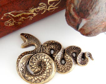 ANTIQUE BRASS * Serpent ~ Snake Stamping ~ Jewelry Ornamental Findings (C-503)