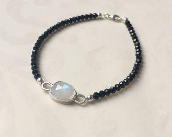 SALE 20%OFF Gemstone Beaded Bracelet Rainbow Moonstone Black Spinel Handmade Sterling Silver Stacking Bracelet Boho Chic Gypsy Style June Bi