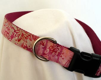 Batik Fireweed - Large Dog Collar - 1 Inch Wide - Adjustable Between 15-23 Inches - Alaskan Summer - Alaska - Alaskan - READY TO SHIP