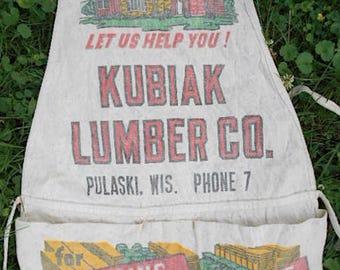 Vintage lumber apron, Kubiak Lumber Co., Pulaski, WI - early 1 digit phone # - bib work apron