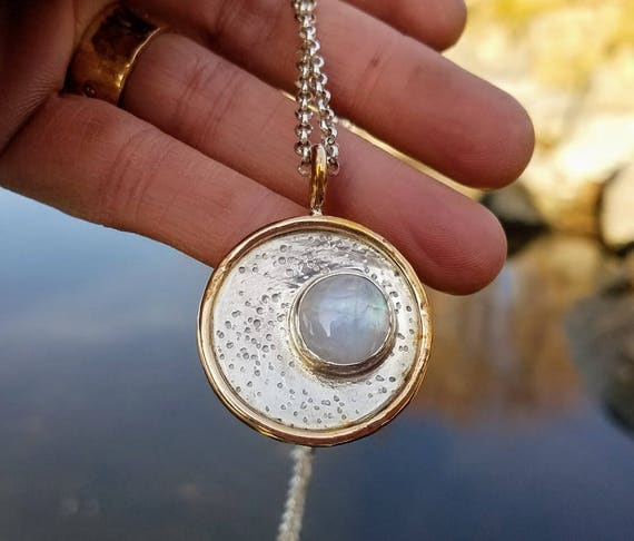 Moonstone Necklace -Eclipse Pendant Sterling Silver, Gold Filled, Statement Boho Artisan Art Jewelry