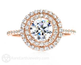 Rose Gold Moissanite Engagement Ring  Double Halo 14K Moissanite Ring Conflict Free Diamond Alternative Custom Bridal Jewelry
