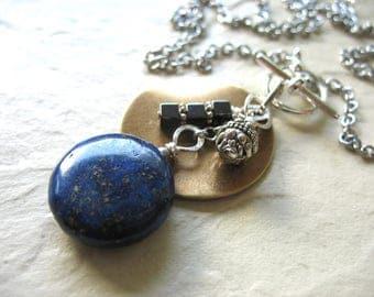 Lapis Necklace, Lapis Lazuli Hematite Stone Handmade Metalwork Necklace, Lapis Lazuli Jewelry, Pendant Necklace, Stone Necklace