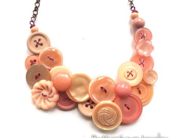 Pretty Peach Vintage Button Necklace