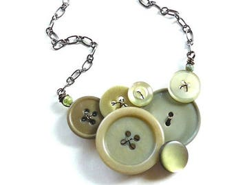 BUTTON JEWELRY SALE Cedar Green Vintage Button Necklace - Muted Olive Sage Color