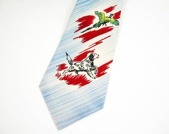 1950s Man's Vintage Necktie - Dog Hunting Pheasant - Sports Tie - Blue White Stripe - Individually Hand Painted - Pilgrim Acetate Cravats
