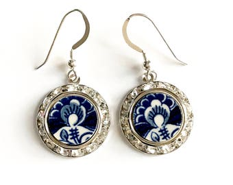 Holland Delft Broken China Jewelry Blue Earrings, Silver Dangle Drop, Swarovski Crystal, Gift from Holland, Hand Painted Earrings