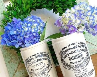 What a Crock... Antique James Keiller & Son Ltd. Dundee Orange Marmalade Stoneware Crock Jam Jar Rustic Farmhouse England Scotland Vase