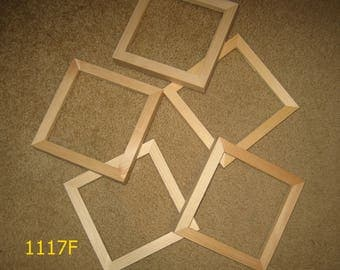Five 6x6 picture frames with DEEP rabbet for canvases , unfinished wood (1117F)