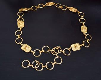 Vintage Chain Link Belt Heavy Weight Gold Tone Metal Floral Belt Adjustable
