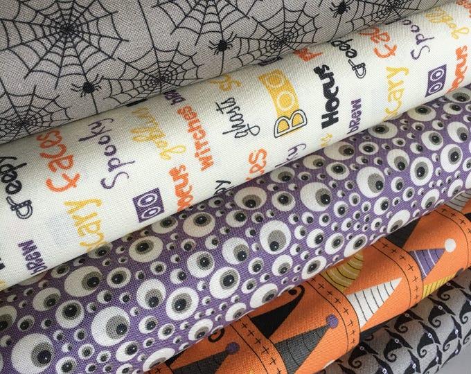 Halloween Fabric Bundle, Fabric by the Yard fabric, Fabric Shoppe bundle, Moda Fabric- Hocus Pocus Fabric Bundle of 5