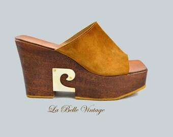 Pierre Cardin Platform Shoes US 9 UK 7 Vintage 70s Leather & Wood Heels ~ Made in France