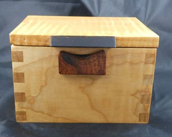 Made in the USA , This a finely crafted stash /keepsake/ memory box with traditional box joinery, exotic wood box