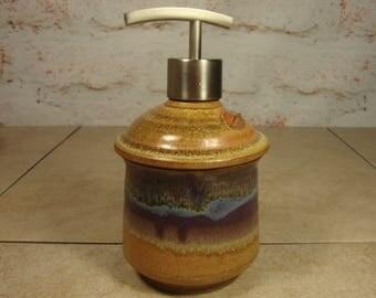 Pottery Soap Dispenser with Sage Leaf