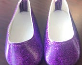 Girl Doll Shoes, Purple Glitter Doll Shoes, 18 inch Doll Ballet Flats, American Doll Glitter Shoe, Girl Doll Shoes, Ready to ship