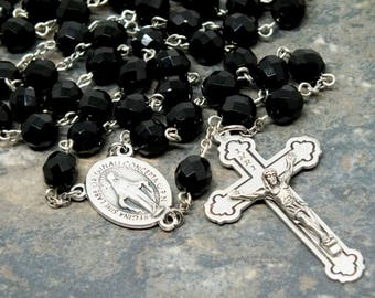 Czech Glass Rosary in Jet; Miraculous Medal; Marian Rosary; Men's Rosary; 5 Decade Rosary; Catholic Rosary; Large Size Rosary; Simple Rosary