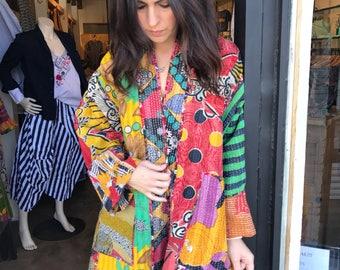 Plus size cotton reversible kantha jacket in amazing colors