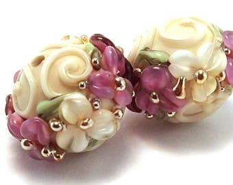 Gilded Mulberry and Cream Scrolled Rounds