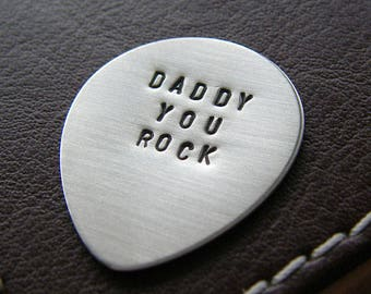 Personalized Guitar Pick -  Custom Hand Stamped Sterling Silver Pick - Perfect Gift for Father's Day