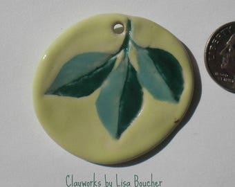 Porcelain Summer Green Leaf Pendant