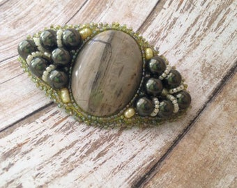 Hair Barrette Clip of Fossilized Wood Cabochon with Forest Green Pearls