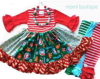 Frosty the Snowman dress, girls Christmas dress, holiday dress, holiday Snowman outfit, toddler  boutique custom dress