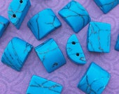 14 Turquoise Howlite Beads, Two Hole, Half Round, about 10mm X 14mm with 1.25mm holes
