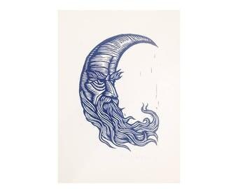 Man in the Moon Print - Hand Carved Linoleum Block Print - Hand Printed Linocut Art - Blue Moon Linocut - Moon Art - Crescent Moon Artwork