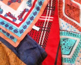 Vintage lot of four silk ladies scarves womans neckwear