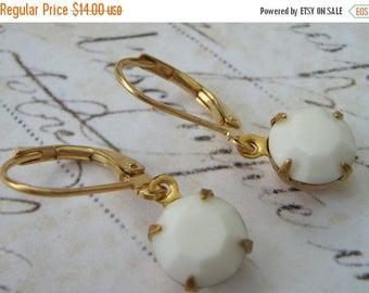 ON SALE Estate Earrings, Retro Earrings, White Glass Earrings, Vintage Rhinestone Earrings, Milk Glass Earrings, Lever Back Earrings