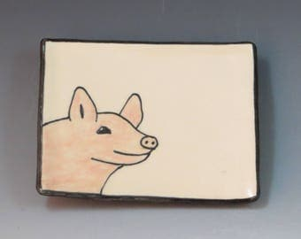 Handbuilt Ceramic Soap Dish with Pig