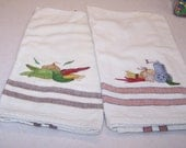 Set of two kitchen towels vegetable designs