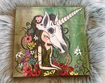 Unicorn skull original painting poppy wildflower girl art portrait