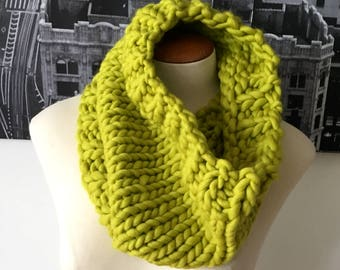 hand-knit chunky cowl - chartreuse