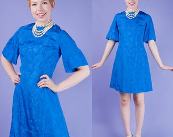 Electric Blue Vintage 1960s 60s A-Line COCKTAIL Party Kimono Sleeve MINI DRESS S Small