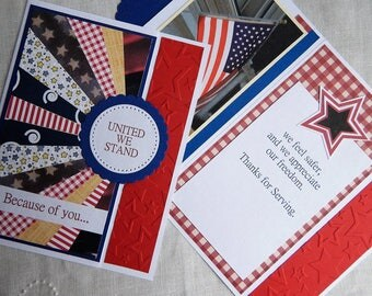 Handmade Military Card: Memorial Day, 4th of July, thank you, complete card, handmade, balsampondsdesign, sunburst, stars, blue, red, white