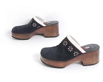 size 5.5 TOMMY HILFIGER navy leather 90s slip on platform CLOGS mules