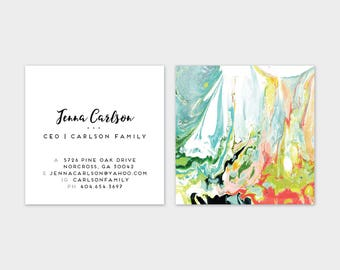 WILD Aqua Chartreuse Indigo Coral Blush Marble Calling Cards   Business Cards   Blogger Cards   Set (50)