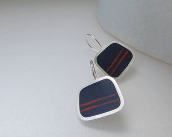 Striped Inky Blue Earrings - Square Silver Drop Earrings - Modern Jewellery - Christmas Gift for Best Friend - Graphico Striped Earrings