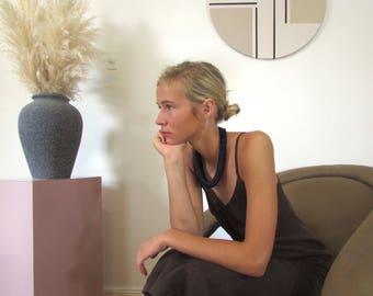 Brown Linen Ankle Length Dress | Minimalist | 90s