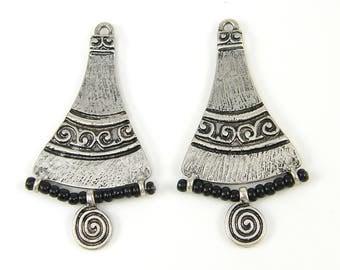 Silver Black Earring Findings Scroll Earring Dangle Ancient Art Carved Earring Components Bell Fan Beaded Earring Parts Pendant |S6-10|2