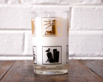 Soy Candle. Cedar Campfire Scent. Woods Candle. Bonfire Scent. Man Candles. Candles for Dad. Vintage Nautical Glass. Unique Candle Scent.