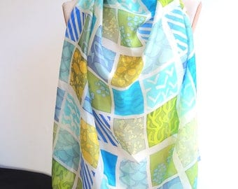 NEW Cornish Eden Sudoku scarf -large silk scarf -square -blue teal & green to white- wearable art- ready to ship OOAK