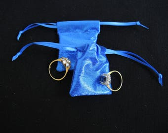 NEW Tiny metallic royal blue lame pouch -fabric reuseable bag for rings, gifts, presentation, wedding- small but useful size- ready to ship