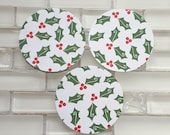 "Red and Green Christmas Holly 2"" Sticker Set or Envelope Seals For Christmas, Holiday Cards or Gift Wrap. Pack of 20 Stickers, Holly Berries"